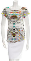 Sandro Printed Silk & Linen Top