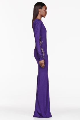 Balmain Purple beaded Backless Pillar Dress