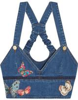 Valentino Embroidered Appliquéd Stretch-denim Bustier Top - Blue