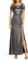 Morgan & Co. Cold Shoulder Shimmer Gown