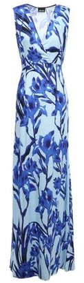 Just Cavalli Wrap-effect Floral-print Crepe De Chine Gown