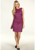 Muse Geometric Printed Angle Seam Dress (Pink Multi) - Apparel