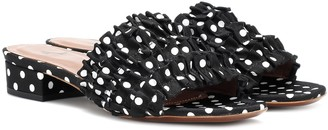 ALEXACHUNG Polka-dot ruffle slippers