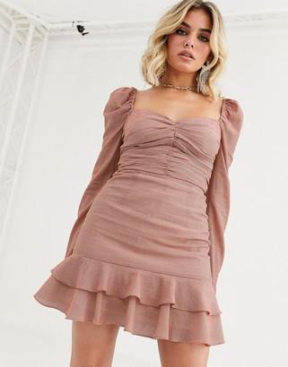 Vestire true romance square neck mini dress-Pink