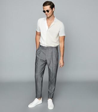 Reiss Seb - Colour Block Cuban Collar Shirt in Cream Multi