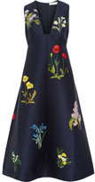 Stella McCartney Kaitlyn Embroidered Satin Dress - Midnight blue