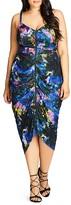 City Chic Pixel Floral Print Dress