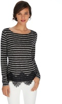 White House Black Market Long Sleeve Stripe Lace Hem Tee