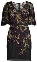 Aidan Mattox Women's Beaded Flutter Sleeve Cocktail Dress