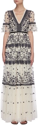 Needle & Thread Midsummer' lace trim floral embroidered short sleeve gown