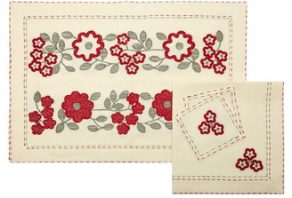 Vita Kin Periwinkle Embroidered-linen Table Set - Ivory Multi