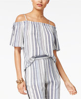 Amy Byer Juniors' Striped Cold-Shoulder Top
