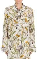 Alexander McQueen Floral-Print Silk Pajama Top