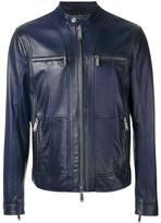 DSQUARED2 zipped panel leather jacket - men - Cotton/Leather/Polyester - 50