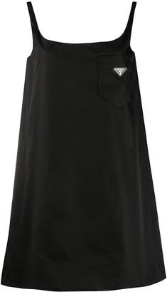 Prada Logo Plaque Sleeveless Mini Dress