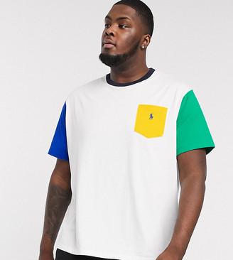 Polo Ralph Lauren Big & Tall colourblock player logo pocket t-shirt in multi