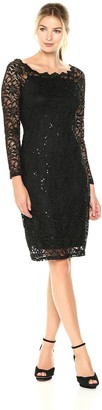 Tiana B T I A N A B. Women's Scallop Neck Sequin Lace Dress