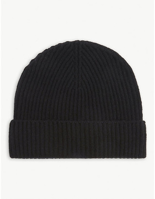 Johnstons Ribbed cashmere beanie hat