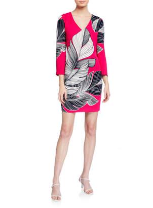 Trina Turk Journey Leaf-Printed Sheath Dress