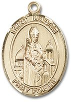 Bonyak Jewelry Saint Medal Collection 14kt Yellow Gold St. Walter of Pontnoise Medal 1 x 3/4 inches