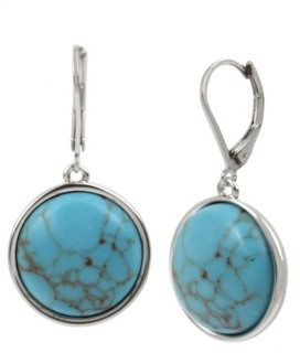 Kenneth Cole New York Silver-Tone Cabochon Drop Earrings