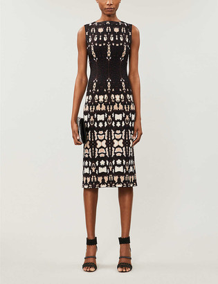 Azzedine Alaia Graphic-pattern stretch-knit midi dress
