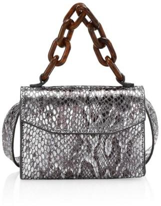Ganni Snakeskin-Embossed Leather Belt Bag