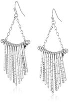Jessica Simpson Hammered Drop Fringe Rhodium Earrings