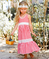 Mia Belle Girls Girls' Casual Dresses Red - Red Gingham Lace-Insert Ruffle Maxi Dress - Toddler & Girls
