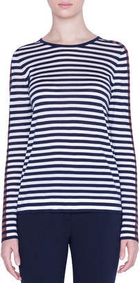 Akris Punto Striped Crewneck Sweater