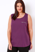Yours Clothing Purple Dipped Hem Top With Zip Pocket Detail