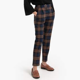 La Redoute Collections Tartan Slim Trousers with Belt
