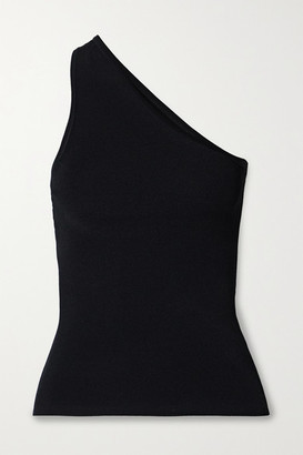 Tibi Giselle One-shoulder Ribbed Stretch-knit Top - Black