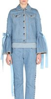Fendi Denim Bell-Sleeve Jacket with Lace-Up Ribbons, Blue
