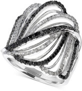 Effy Black and White Diamond Crisscross Swirl Ring (7/8 ct. t.w.) in 14k White Gold