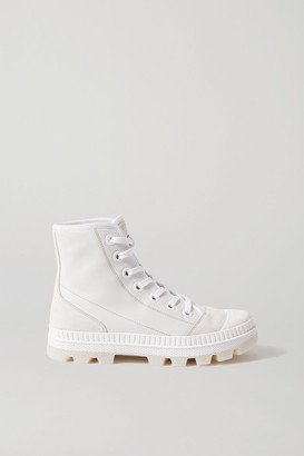 Jimmy Choo Nord Suede And Rubber-trimmed Leather High-top Sneakers - White