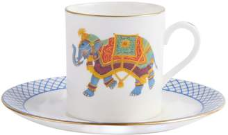 Halcyon Days Ceremonial Indian Elephant Cups and Saucers (Set of 6)