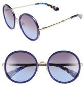 Kate Spade Women's Lamonica 54Mm Gradient Lens Round Sunglasses - Black/ Gold