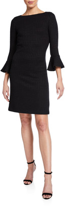 St. John Ribbon-Textured Windowpane Dress