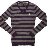 U.S. Polo Assn. Striped Cable Knit V-Neck Sweater