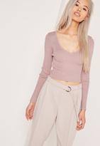 Missguided Basic V Neck Longsleeve Crop Sweater Purple