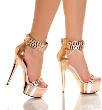 "The Highest Heel Glamorous 21 6"" Heel Platform Sandals with Embellished Ankle Cuff"