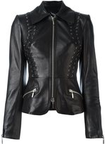 Plein Sud Jeans fitted leather jacket