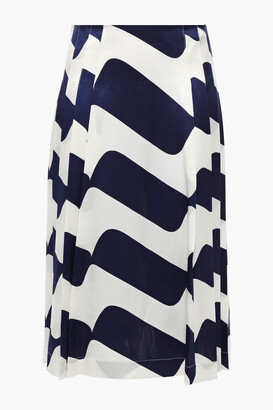 Victoria Beckham Pleated Printed Silk-satin Skirt