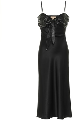 MATÉRIEL Faux leather-trimmed silk satin dress