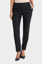 Basque Navy Pin Dot Slim Leg Suit Pant