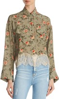 The Kooples Lace-Trimmed Floral Silk Shirt