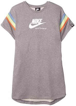 Nike Kids NSW Heritage Short Sleeve Dress (Little Kids/Big Kids) (Carbon Heather/White) Girl's Dress