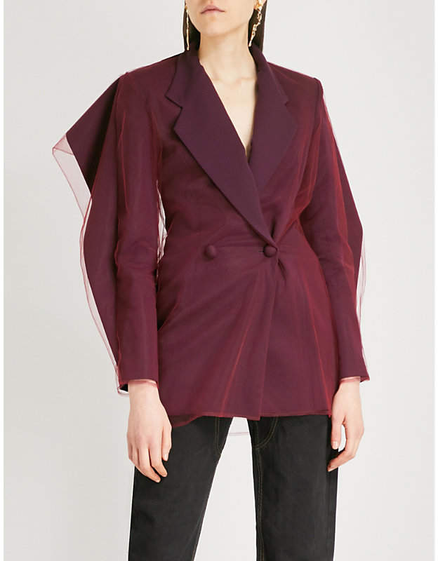 Y/Project Tulle-trimmed wool-blend blazer
