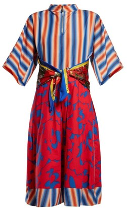Marni Stripe And Floral Print Cotton Poplin Midi Dress - Womens - Red Multi